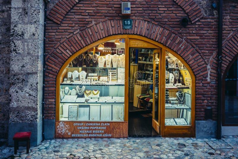 Shop in Sarajevo. Sarajevo, Bosnia and Herzegovina - August 23, 2015. Jewellery store at Gazi Husrev-beg Bezistan covered market at old bazaar and the historical royalty free stock photo
