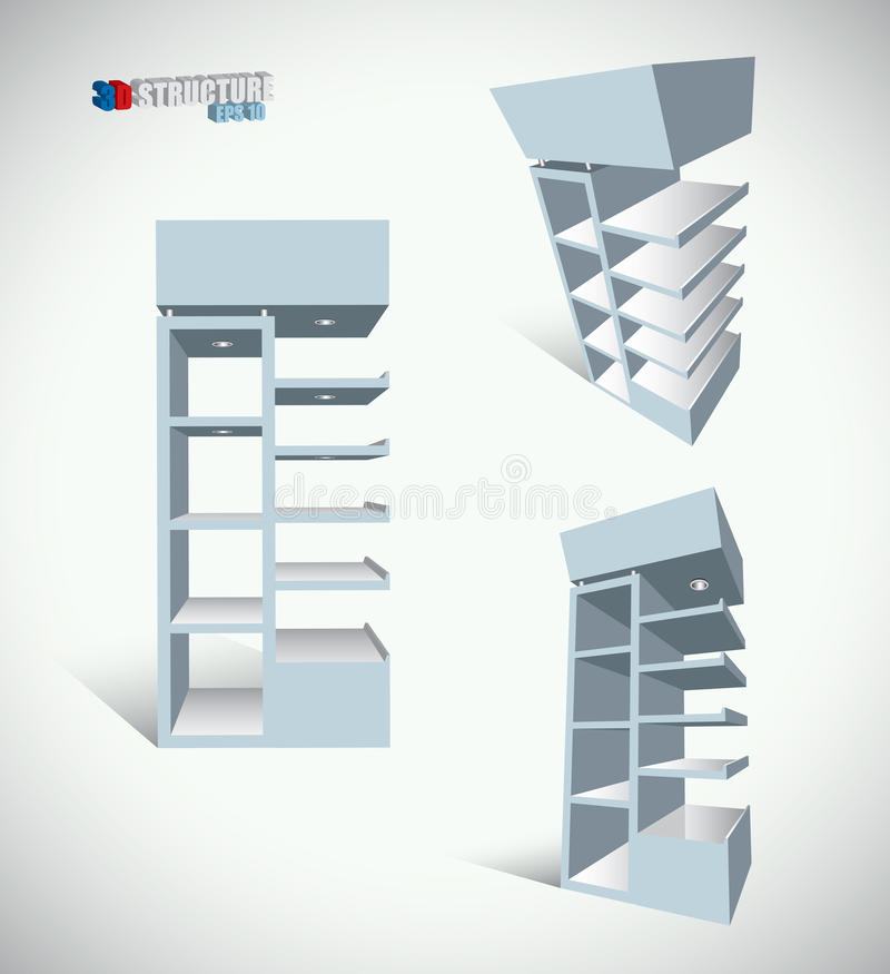 Download Shop shelves structure stock vector. Image of bookshelf - 18536313