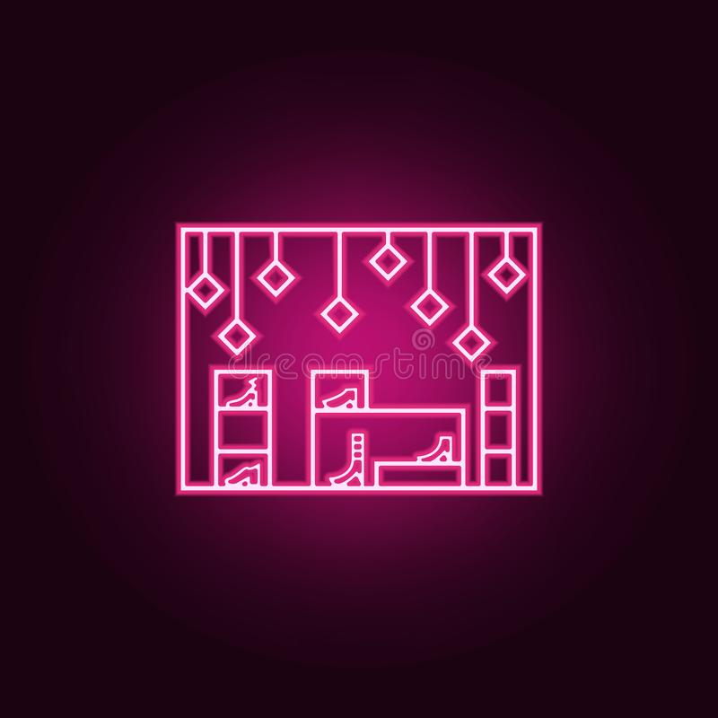 Shop shoes outline icon. Elements of Mall Shopping center in neon style icons. Simple icon for websites, web design, mobile app,. Info graphics on dark gradient royalty free illustration