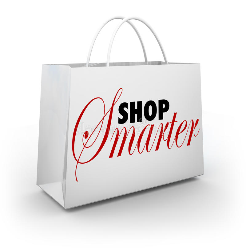 Shop Smarter Find Deals Discounts Sale Prices Bag. Shop Smarter words on a store shopping bag to carry your bargains and special discount merchandise and stock illustration