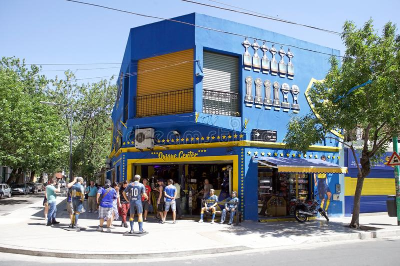 Shop at the stadium La Bombonera in La Boca, Buenos Aires, Argentina. Shop in front of the stadium La Bombonera in La Boca in Buenos Aires, Argentina. The royalty free stock photo