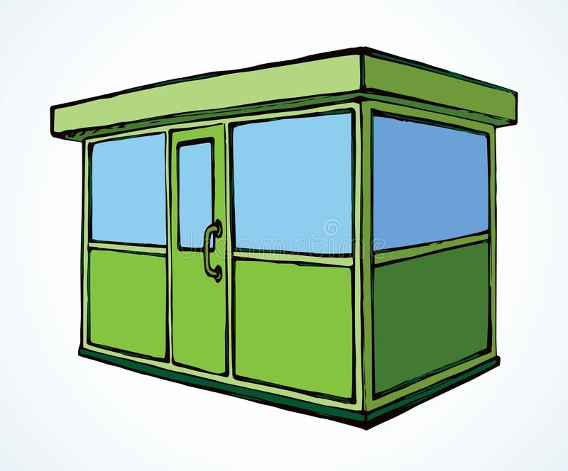 Shop stall. Vector drawing. Local show booth box stand exterior on white space for text. Green color hand draw empty town glass rack cabin symbol. Small urban royalty free illustration