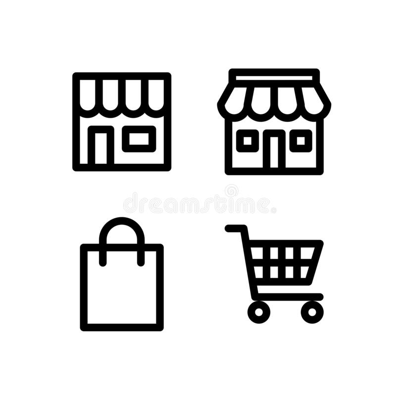 Shop, Store, Cart, & Shopping Bag Icon. Building Icon Set Vector Logo Symbol vector illustration