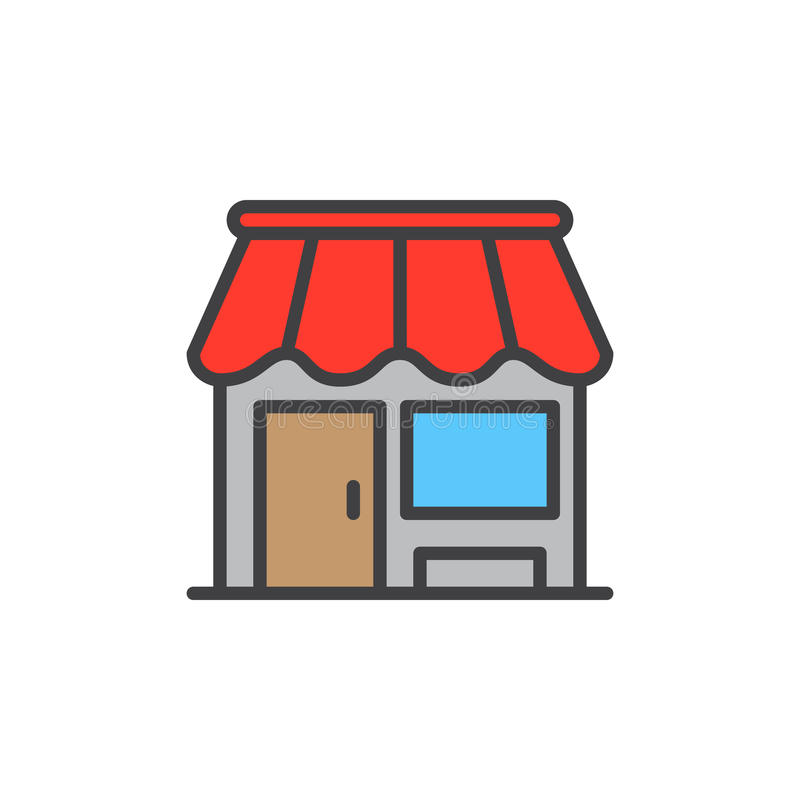Shop, store filled outline icon, vector sign vector illustration