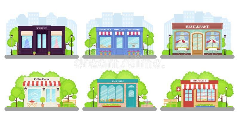 Shop, store front. Vector illustration. Storefront facades set royalty free illustration