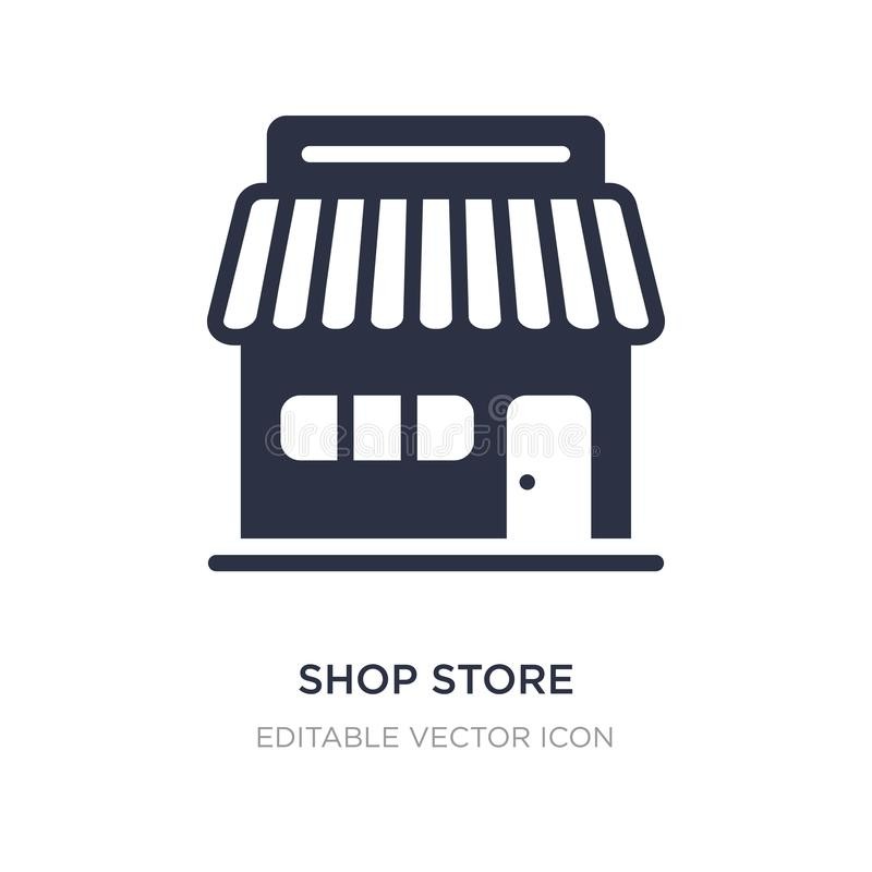 shop store icon on white background. Simple element illustration from Commerce concept royalty free illustration