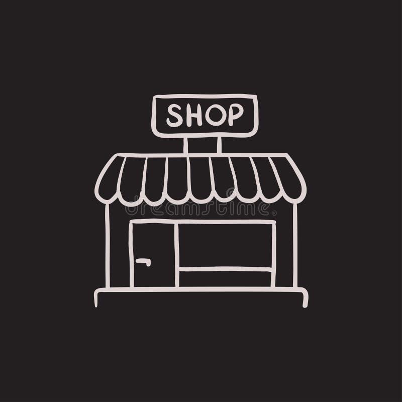 Shop store sketch icon. vector illustration