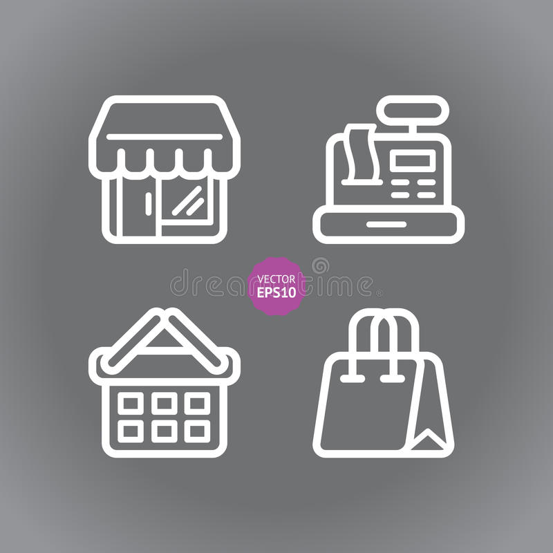 Shop and store, supermarket vector icons set. Flat illustration. royalty free illustration