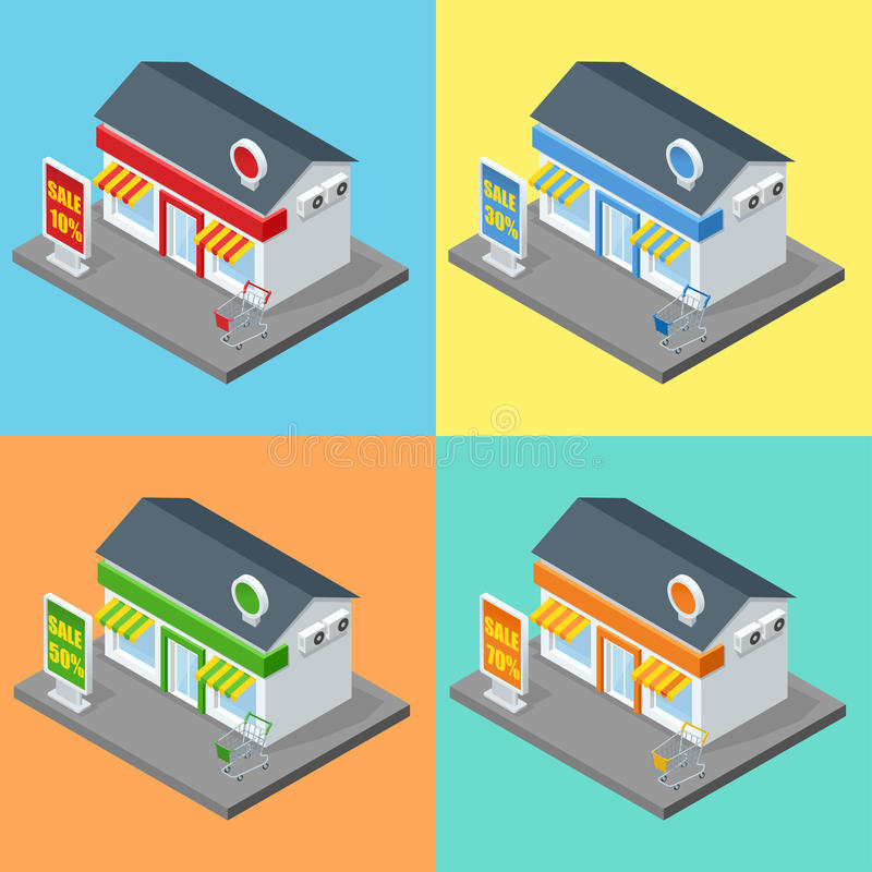 Shop, supermarket exterior. Shops stores and supermarket buildings flat decorative icons set isolated vector 3d stock illustration
