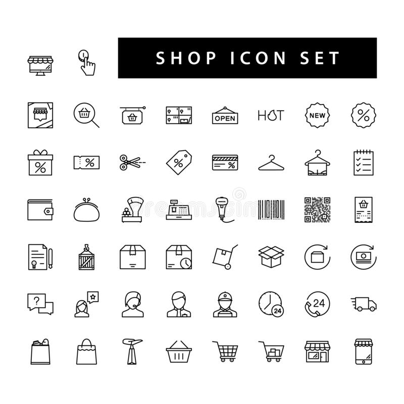Shop supermarket icon set with black color outline style design.  vector illustration