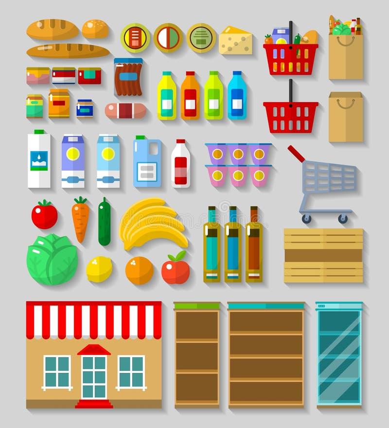 Shop, supermarket set vector illustration