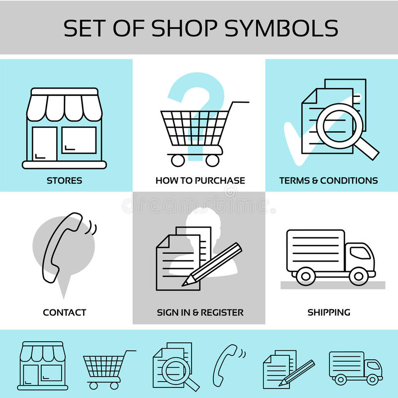 Free Shop Symbols, Navigation - Stores, How To Purchase, Terms And Conditions, Contact, Sign In And Register, Shipping Royalty Free Stock Photo - 76980555