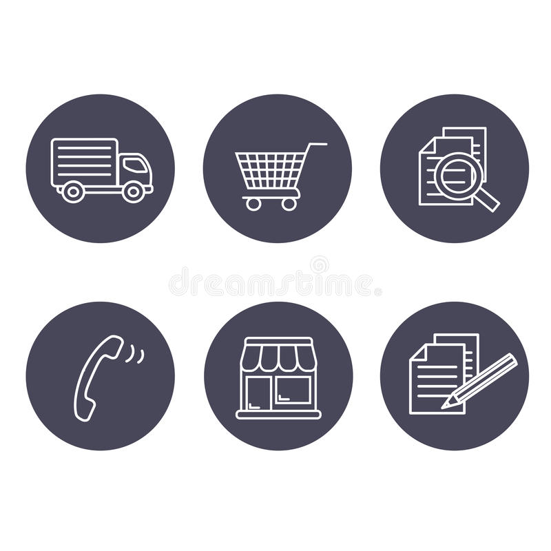 Free Shop Symbols, Navigation - Stores, How To Purchase, Terms And Conditions, Contact, Sign In And Register, Shipping, Grey Circular Royalty Free Stock Photos - 77653048