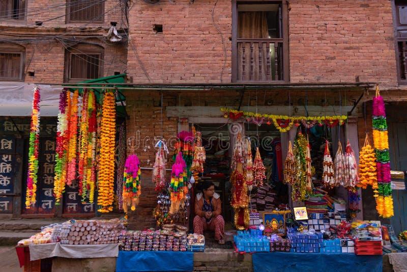 The shop during Tihar festival in Bhaktapur ,Nepal. stock photo