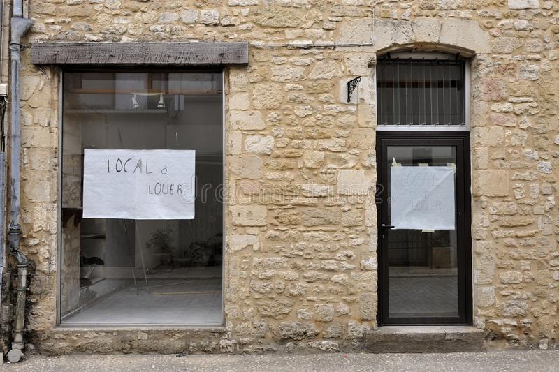 Shop to let in France stock photography