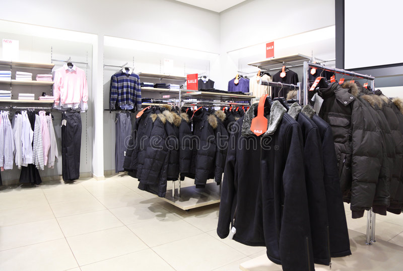 Shop with upper clothes royalty free stock photos