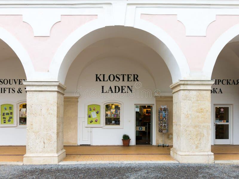 Shop von Heiligenkreuz-Abtei, Wien-Holz, Österreich stockfotos