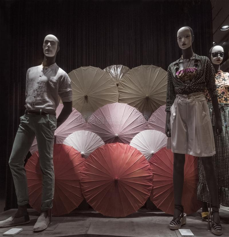 Shop window with сhinese colorful umbrellas royalty free stock photo