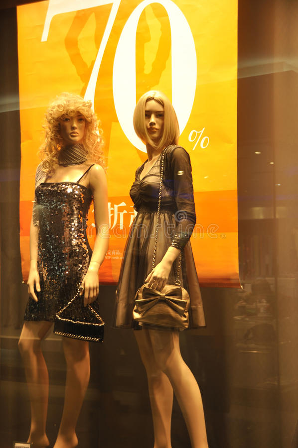 Shop window 70 percent off royalty free stock photography