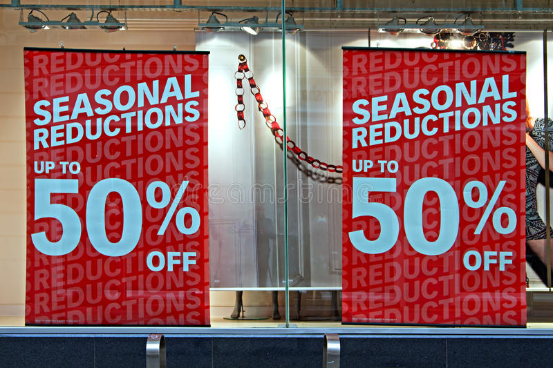 Shop window display in the christmas sales royalty free stock photos