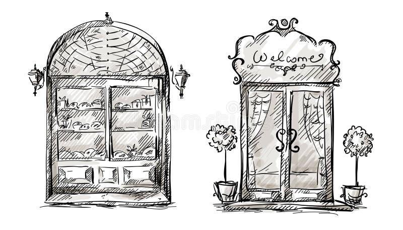 Shop-window en ingangsdeurtekening, retro stijl vector illustratie