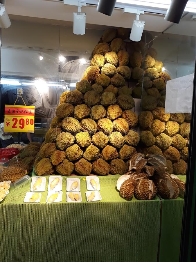 Selling Durian In The Store. Stock Image