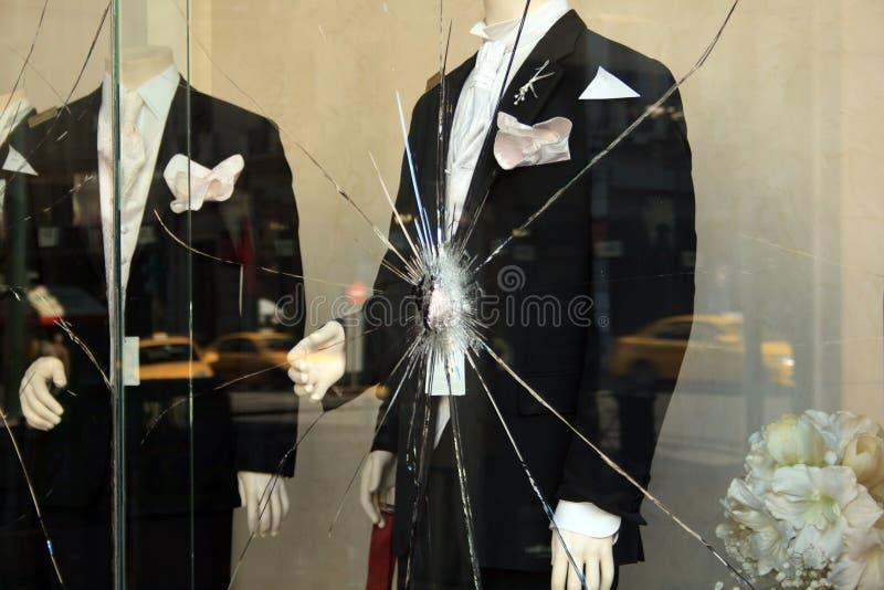 Shop-window rotto immagini stock
