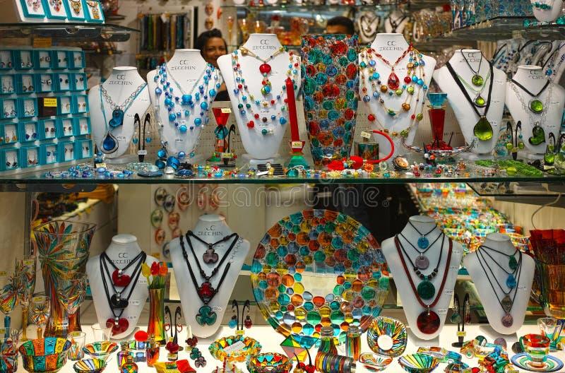 Shop-window van Murano-glaskunstwerken royalty-vrije stock foto's