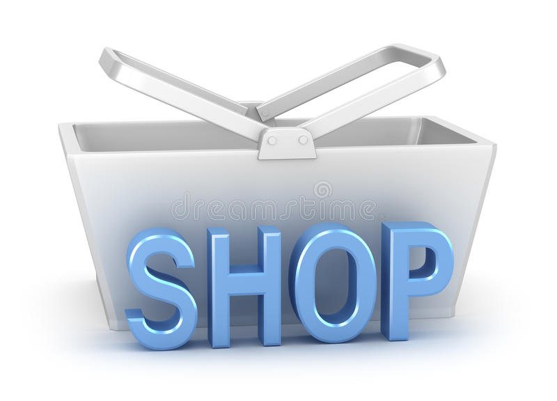 Download Shop Word With Basket In Background Stock Image - Image: 18077991