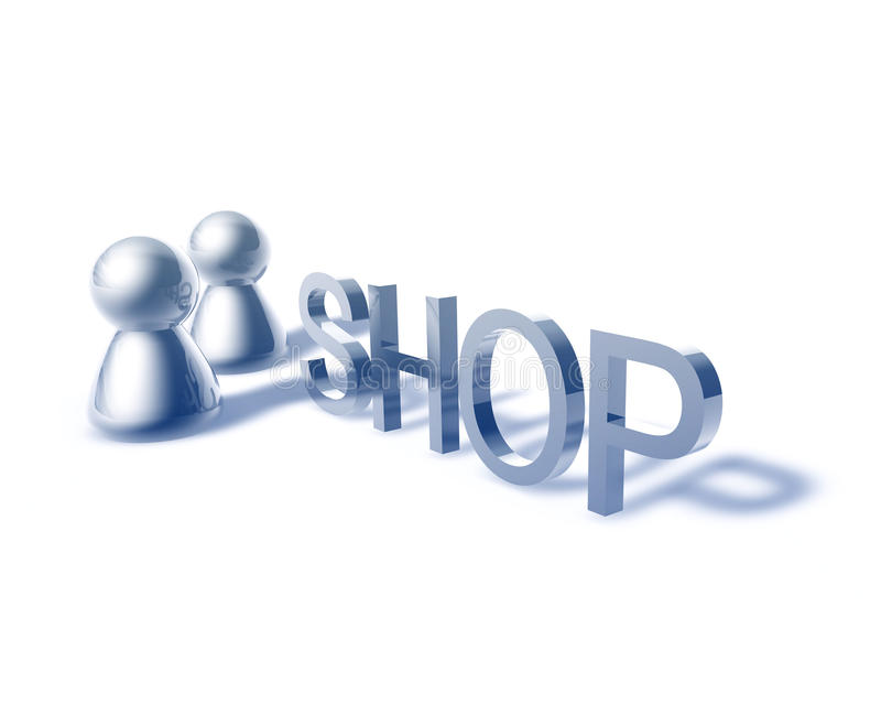 Shop word graphic. Shop online word graphic, with stylized people icons royalty free illustration
