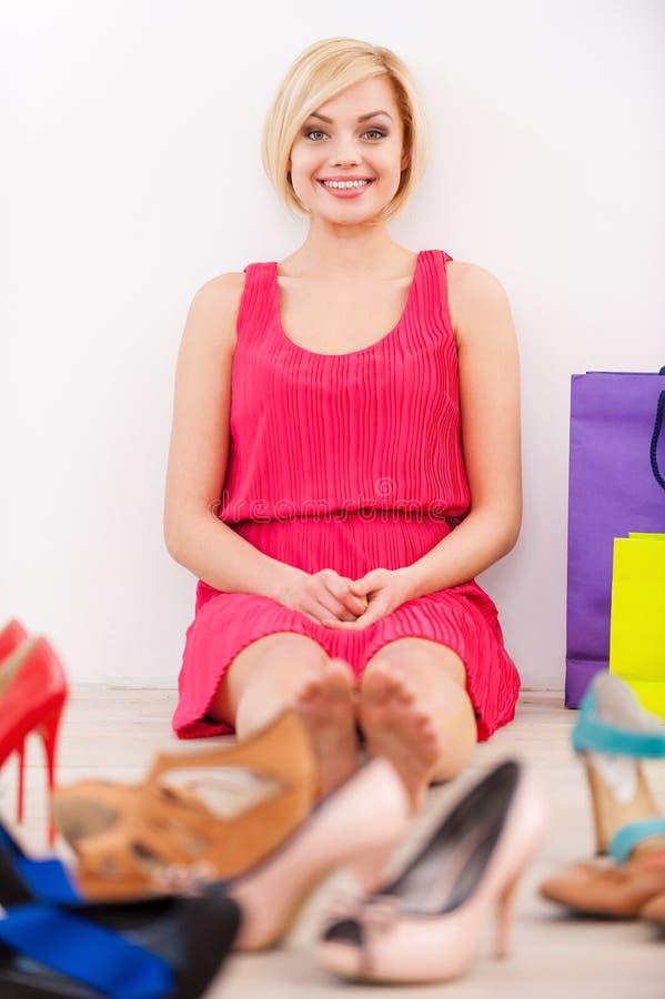 Shopaholic妇女。 免版税库存照片