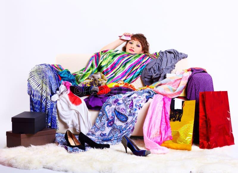 shopaholic妇女 免版税库存照片