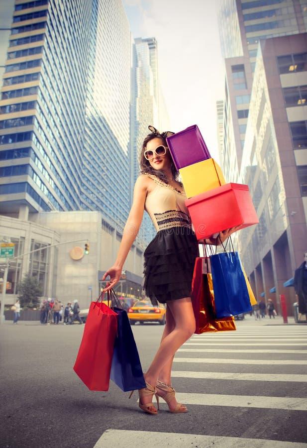 Shopaholic royalty-vrije stock afbeelding