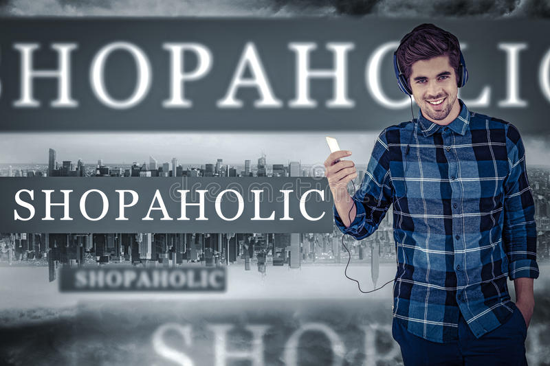 Shopaholic against room with large window looking on city stock image
