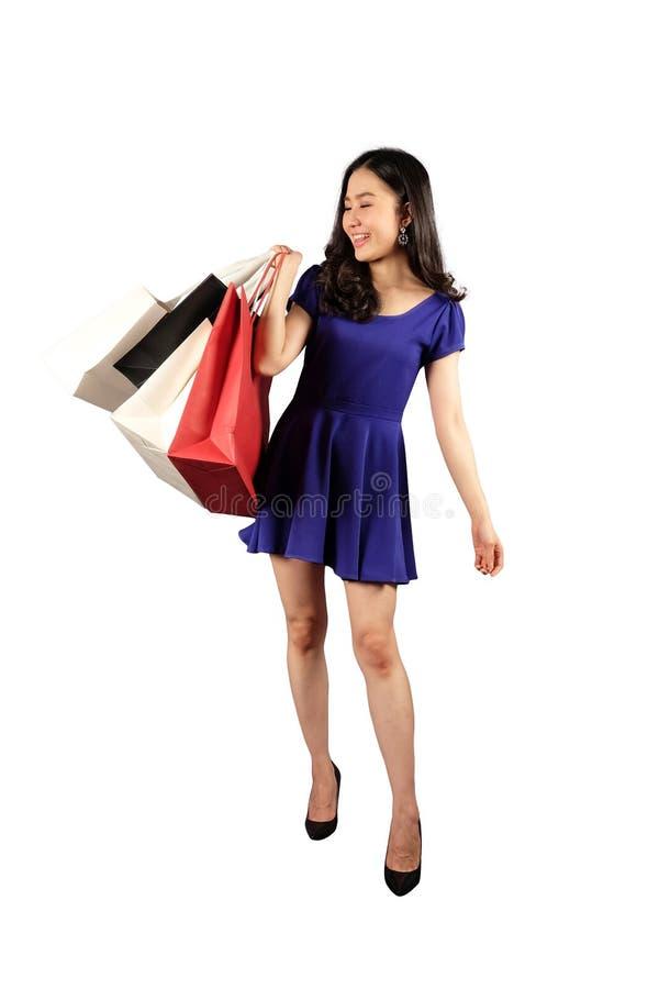 Shopaholic-Frau mit Einkaufstaschen lizenzfreies stockbild