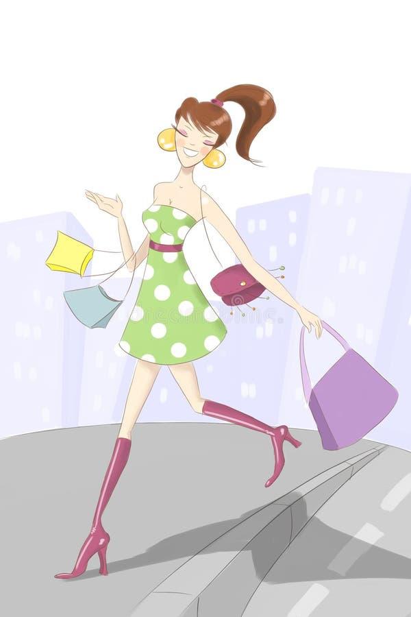 Download Shopaholic girl stock illustration. Image of fabric, funky - 8620043