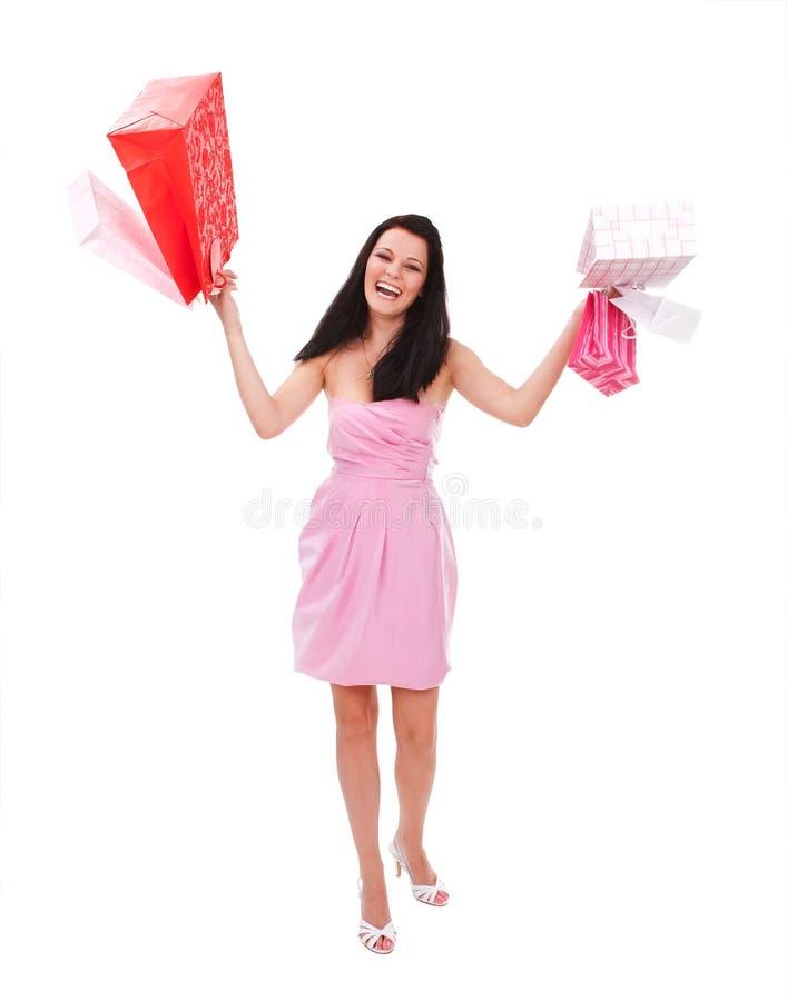 Shopaholic heureux images stock