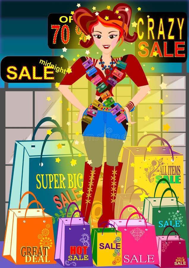 Shopaholic Mädchen stock abbildung