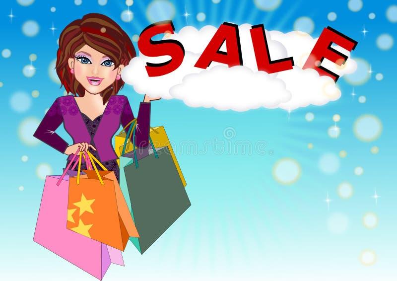 Shopaholic Mädchen lizenzfreie abbildung