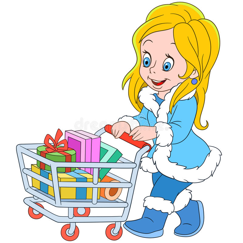 Shopaholic Mädchen der netten Karikatur auf dem Verkauf lizenzfreie abbildung