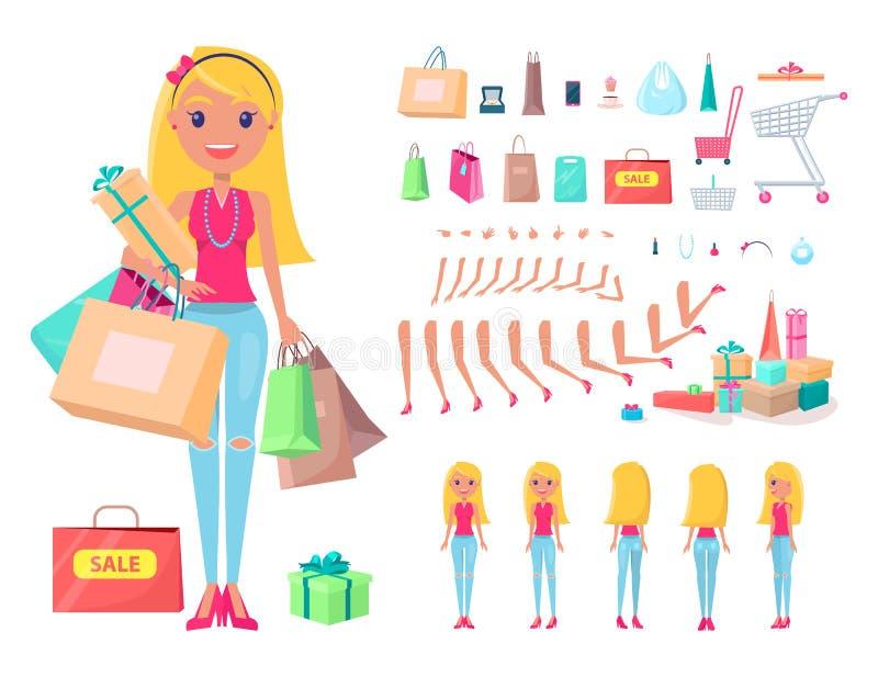 Shopaholic-Mädchen mit den Einkaufstaschen und Warenkörben eingestellt stock abbildung