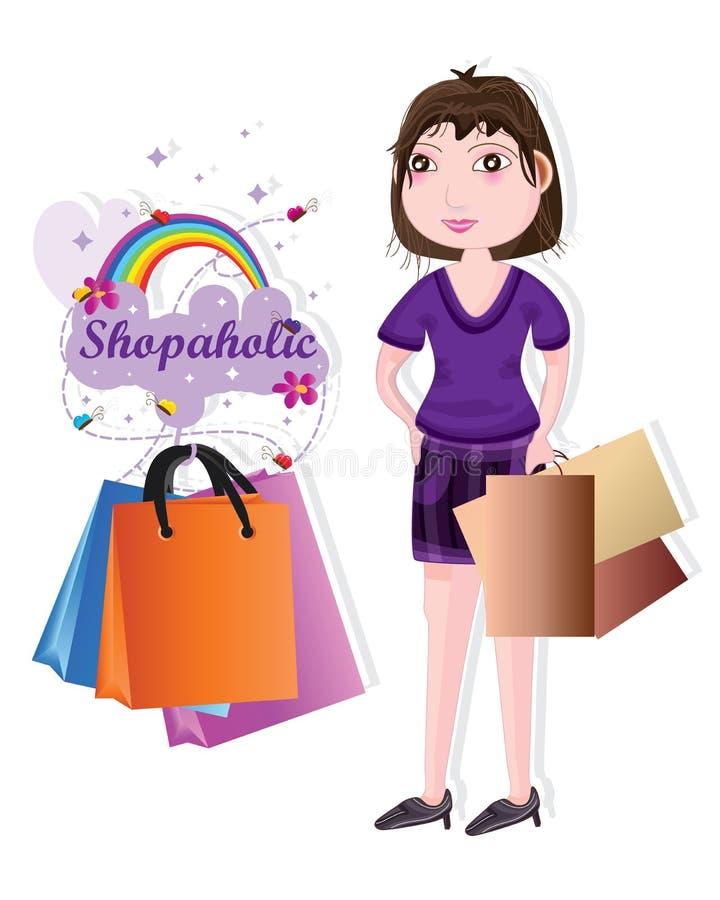 Shopaholic-Mädchenkauf glücklich vektor abbildung