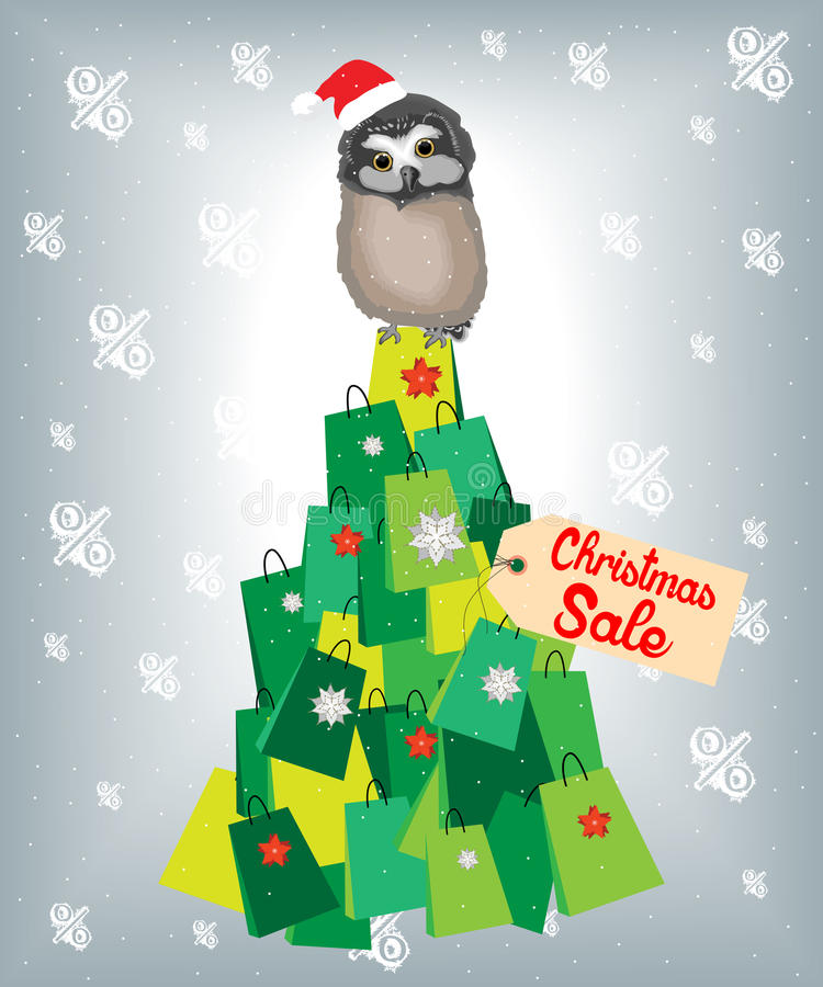 Shopaholic owl. Standing on a Christmas tree made of shopping bags. Eps format available