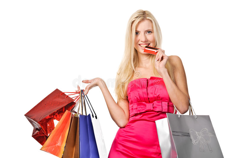 Shopaholic. picture of lovely woman with shopping bags. Isolated stock images