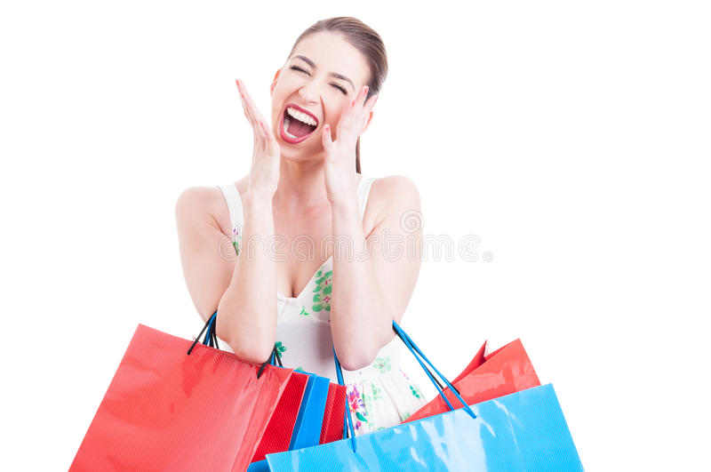 Shopaholic pretty woman screaming or yelling. With eyes closed isolated on white background with copy space area stock images