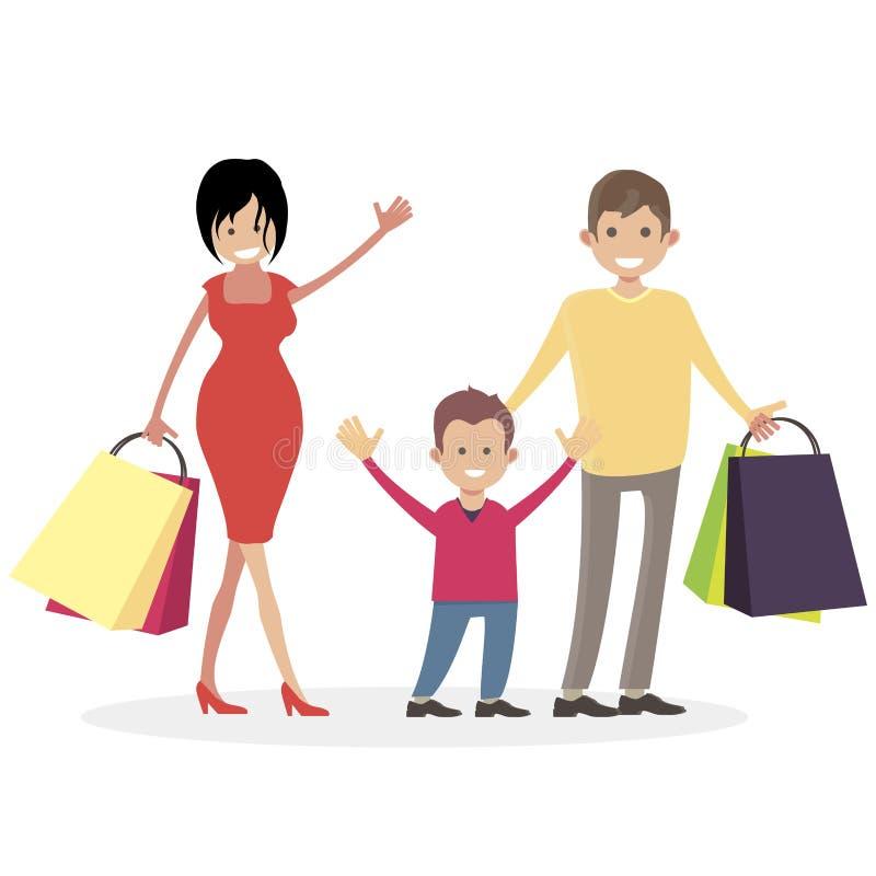 Shopaholics семьи Человек, женщина и ребенок с хозяйственными сумками от магазина Супруг, жена и сын покупателей Люди характера иллюстрация штока