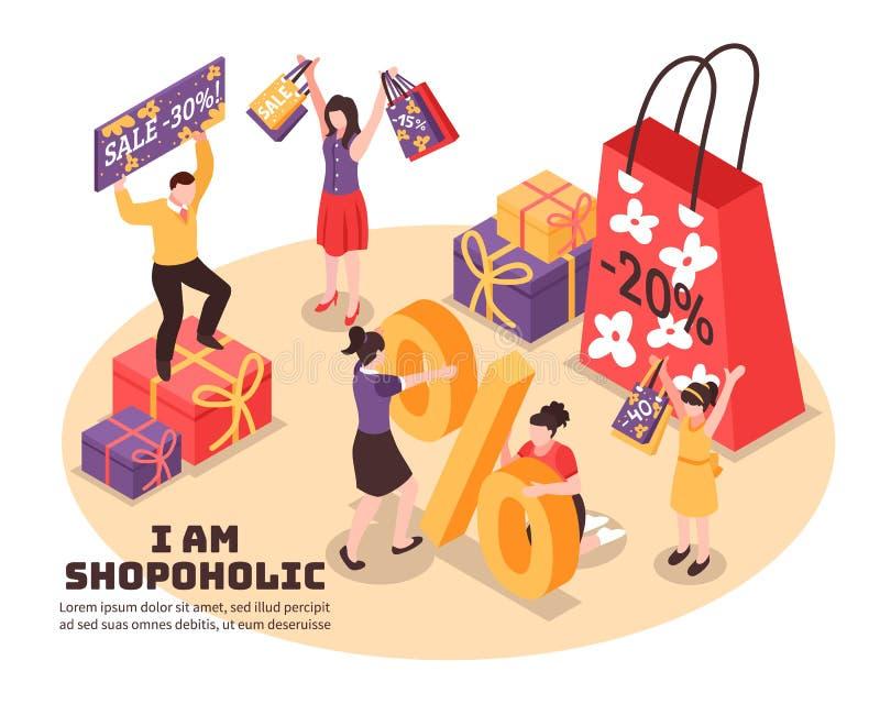 Shopaholism Isometrische Illustratie vector illustratie