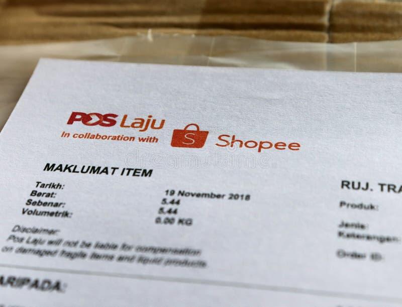 Shopee And Pos Laju Logo stock photography