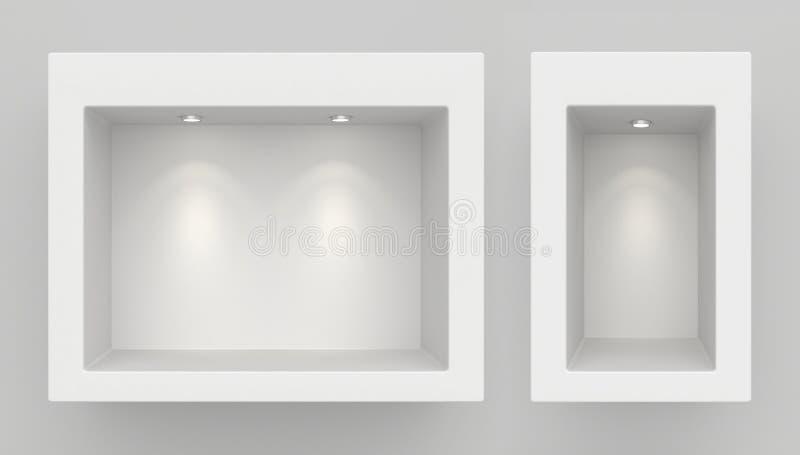 Shopfensteranzeige, leeres Schaufenster mit Licht, Schaukastenspott herauf Wiedergabe 3D vektor abbildung
