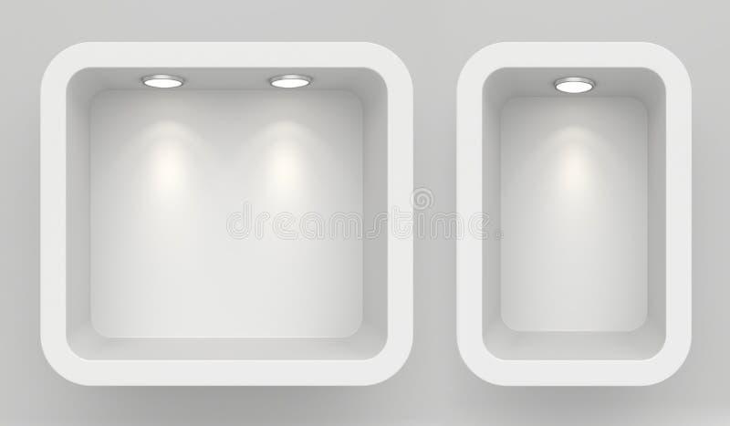 Shopfensteranzeige, leeres Schaufenster, Schaukastenspott herauf Wiedergabe 3D stock abbildung